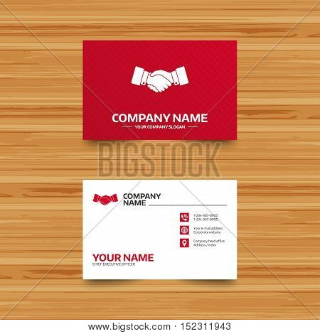 Business card template. Handshake sign icon. Successful business symbol. Phone, globe and pointer icons. Visiting card design. Vector