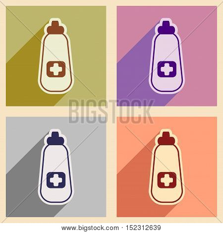 Icons of  assembly bottle of medicine in flat style
