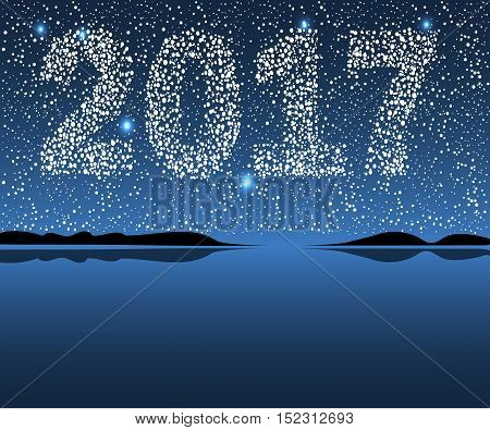 Vector Happy New 2017. Christmas vector illustration background starry sky.
