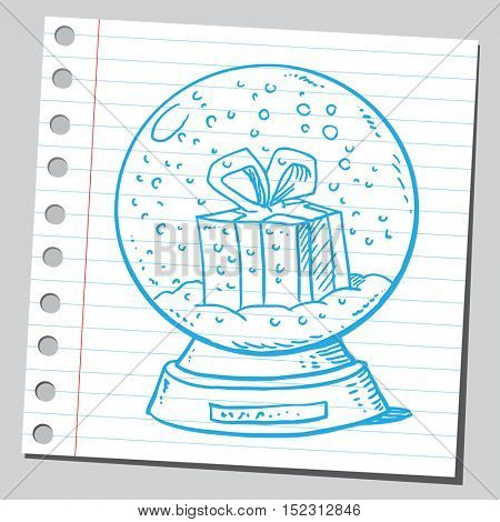 Christmas gift in snow globe