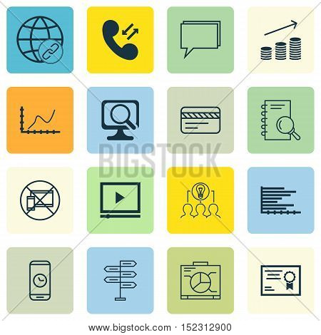 Set Of 16 Universal Editable Icons For Marketing, Business Management And Travel Topics. Includes Ic