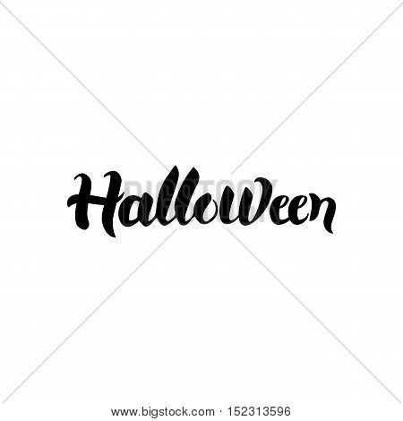 Halloween Calligraphy. Vector Illustration of Lettering Isolated over White Background. Hand Drawn Ink Brush Text.