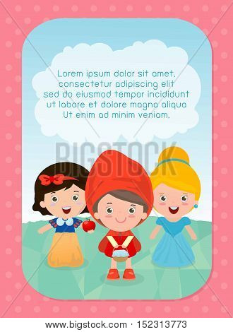 background with kids, Girl in fairy tales, Template for advertising brochure, your text ,child and frame, Vector Illustration