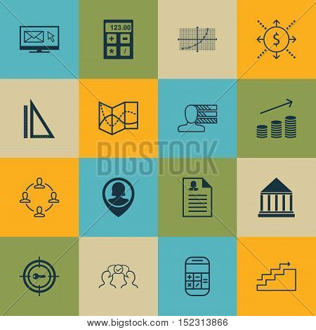 Set Of 16 Universal Editable Icons For Marketing, Advertising And Business Management Topics. Includ