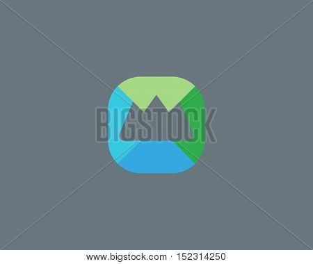 Abstract summit mountain logo design. Top foundation creative symbol. Universal travel vector icon. Roof mount camp sign