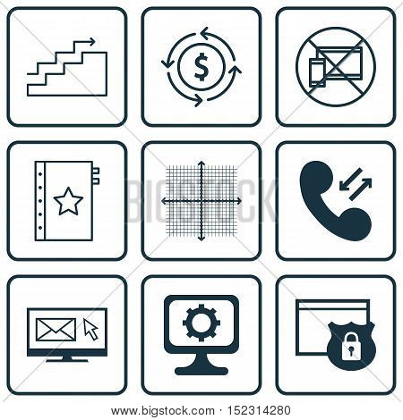 Set Of 9 Universal Editable Icons For Marketing, Statistics And Airport Topics. Includes Icons Such