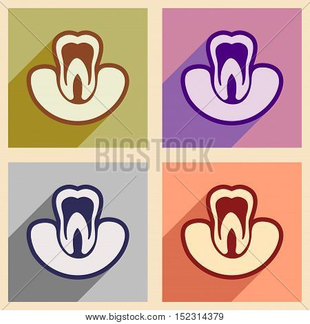 Icons of assembly tooth gums in flat style