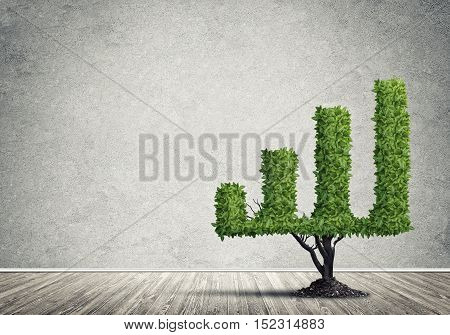 Market growth and success as growing green tree in shape of graph