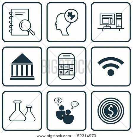 Set Of 9 Universal Editable Icons For Computer Hardware, Project Management And Education Topics. In