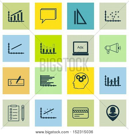 Set Of 16 Universal Editable Icons For Seo, Education And Advertising Topics. Includes Icons Such As