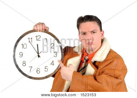 Young Businessman With Clock, Five To Twelve