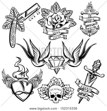 Tattoo monochrome elements set with anchor swallows and diamond floral decoration winged heart ribbons isolated vector illustration
