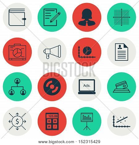 Set Of 16 Universal Editable Icons For Project Management, Human Resources And Statistics Topics. In