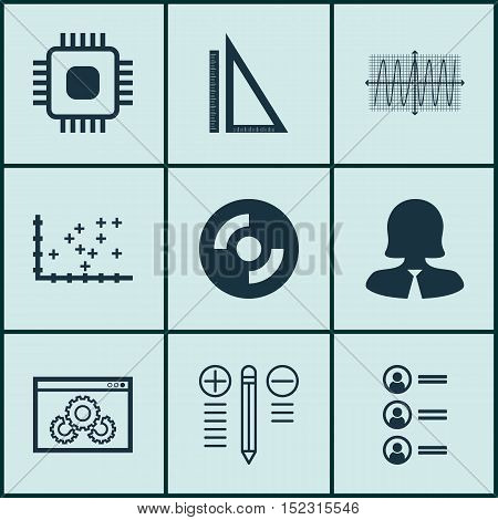 Set Of 9 Universal Editable Icons For Computer Hardware, Project Management And Seo Topics. Includes