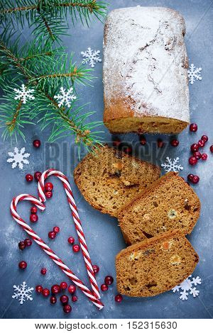 Christmas honey cake on table with festive decorations winter holiday recipe top view