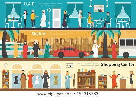 UAE Skyline Shopping Center flat office interior outdoor concept web. Career Chart Fun