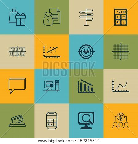 Set Of 16 Universal Editable Icons For Marketing, Project Management And Airport Topics. Includes Ic
