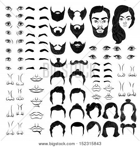Female and male faces monochrome constructor with eyes and brows noses and mouths hairstyles isolated vector illustration