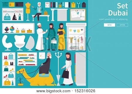 Dubai Big Collection in flat design concept. Furniture and People Set Interior Elements Objects