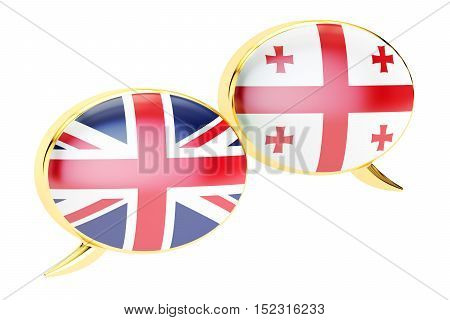 Speech bubbles English-Georgian conversation concept. 3D rendering isolated on white background