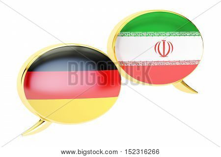 Speech bubbles German-Persian conversation concept. 3D rendering isolated on white background
