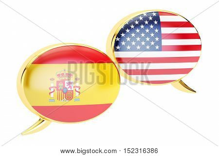 Speech bubbles Spanish-USA conversation concept. 3D rendering isolated on white background