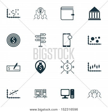 Set Of 16 Universal Editable Icons For Project Management, Business Management And Education Topics.