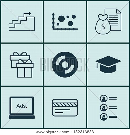 Set Of 9 Universal Editable Icons For Airport, Travel And Statistics Topics. Includes Icons Such As