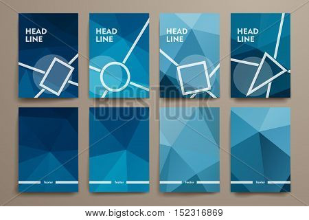 Set of brochure, poster templates in polygonal style. Beautiful design and layout