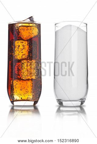 Glasses of cola and sugar unhealthy soda drink on white background