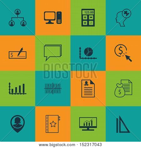 Set Of 16 Universal Editable Icons For Education, Project Management And Computer Hardware Topics. I
