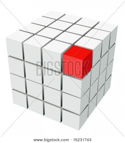 well-organized located group of cubes of red and white colors on white background