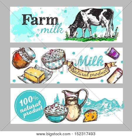 Three horizontal cow farm milk banner set with milk natural product and farm milk descriptions vector illustration
