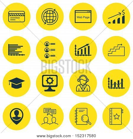 Set Of 16 Universal Editable Icons For Education, Airport And Travel Topics. Includes Icons Such As