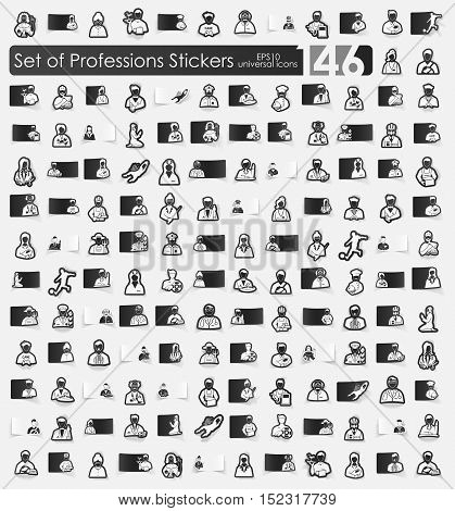 professions vector sticker icons with shadow. Paper cut