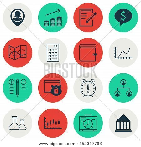 Set Of 16 Universal Editable Icons For Education, Statistics And Seo Topics. Includes Icons Such As