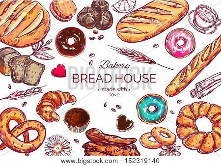 Food view bread composition with isolated colored icon set with bakery and headline made with love vector illustration