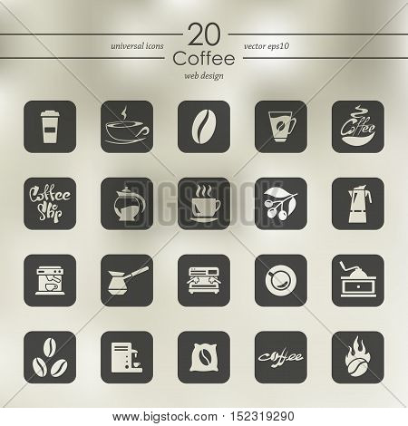 coffee modern icons for mobile interface on blurred background