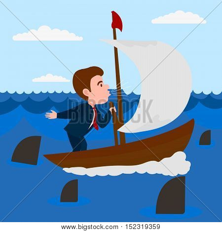 Businessman blowing into the sail boat. Metaphor of business. Comic cartoon vector illustration.