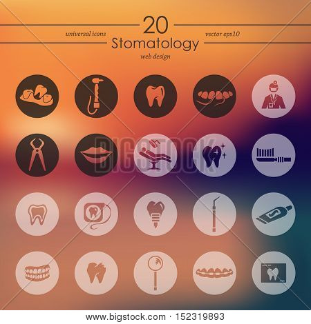 stomatology modern icons for mobile interface on blurred background