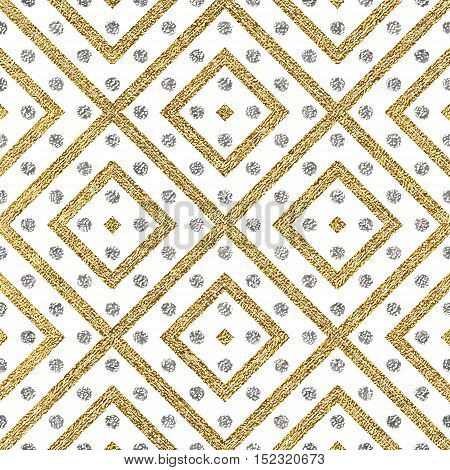 Geometric seamless pattern of gold silver diagonal lines and circle, abstract seamless background of golden silvern stripes and points, hand drawn vector pattern for invitation, card, wedding, web