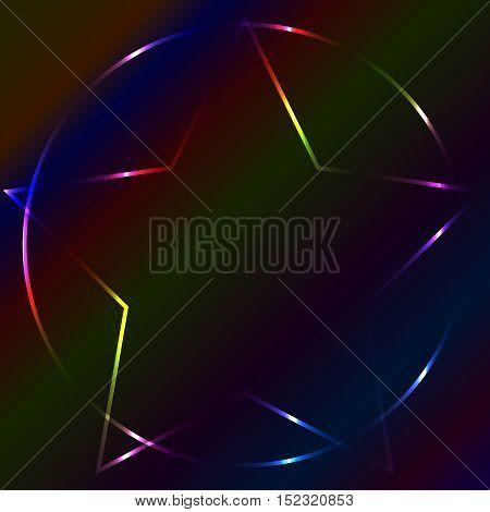 Colorful neon laser pentagram multicolor dark background