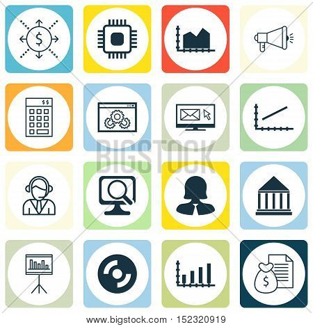 Set Of 16 Universal Editable Icons For Computer Hardware, Airport And Education Topics. Includes Ico