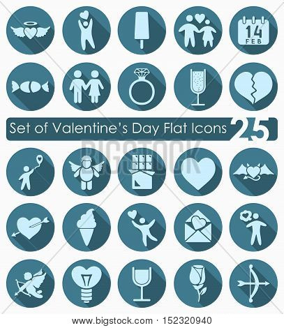 Set of Valentine's Day flat icons for Web and Mobile Applications