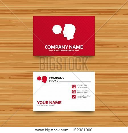 Business card template. Talk or speak icon. Speech bubble symbol. Human talking sign. Phone, globe and pointer icons. Visiting card design. Vector
