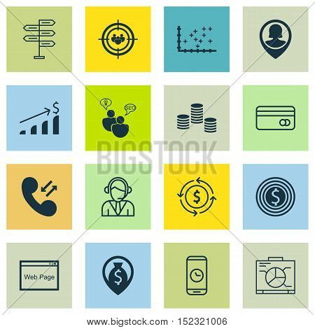 Set Of 16 Universal Editable Icons For Travel, Project Management And Advertising Topics. Includes I