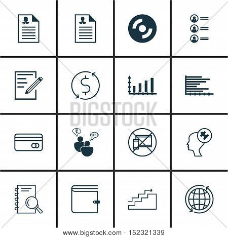 Set Of 16 Universal Editable Icons For Computer Hardware, Education And Project Management Topics. I