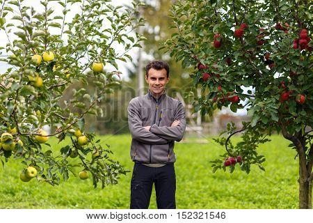 Teenage Farmer In The Orchard