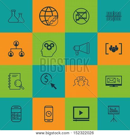 Set Of 16 Universal Editable Icons For Human Resources, Business Management And Project Management T