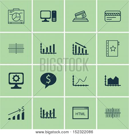 Set Of 16 Universal Editable Icons For Project Management, Computer Hardware And Travel Topics. Incl